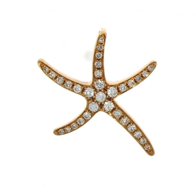 18ct Rose Gold Diamond Starfish Pendant 0.35ct