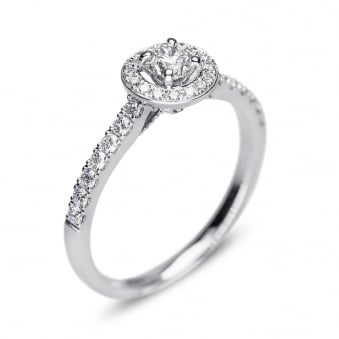 18ct White Gold 0.25ct Diamond Halo Ring with Diamond Shoulders
