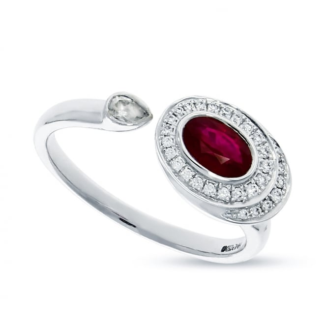 18ct White Gold 0.50ct Ruby & 0.17ct Diamond Torque Style Ring