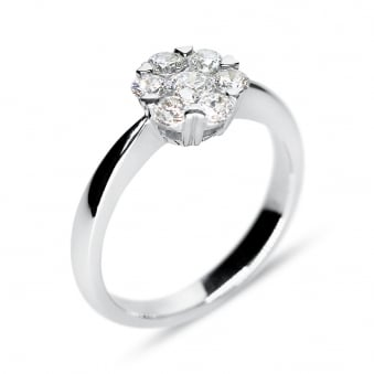 18ct White Gold 0.60ct Diamond Cluster Style Ring