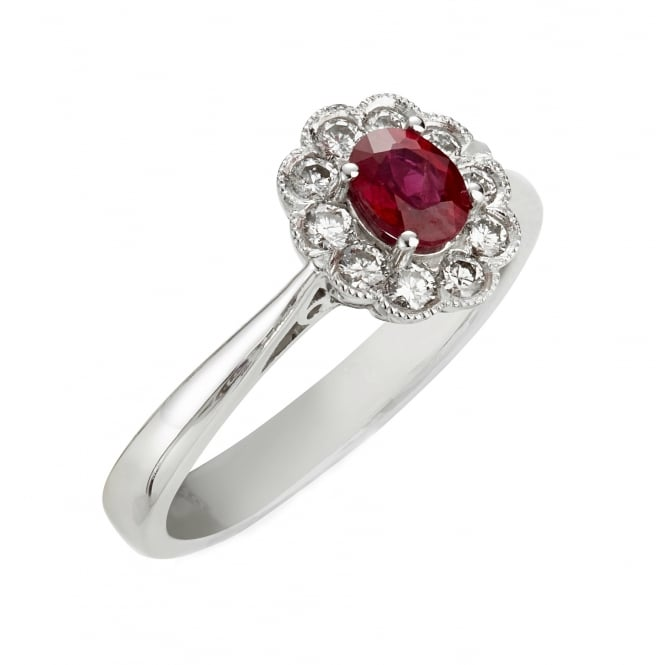 18ct White Gold Antique Style Ruby & Diamond Ring