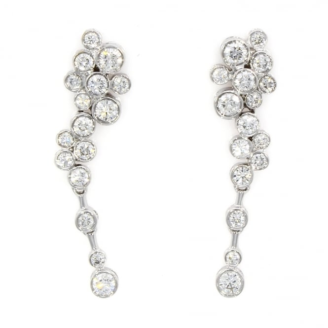 18ct White Gold Diamond Bubble Style Earrings 0.89ct