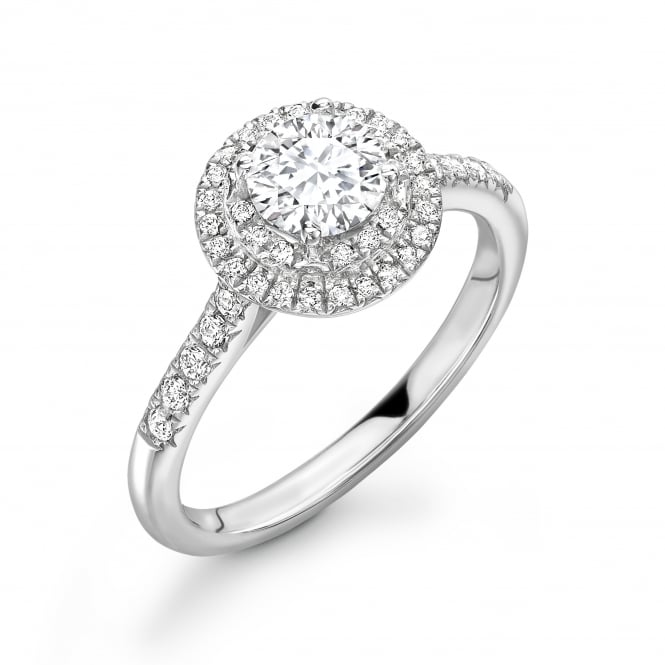 18ct White Gold Diamond Halo Ring with Diamond Shoulders