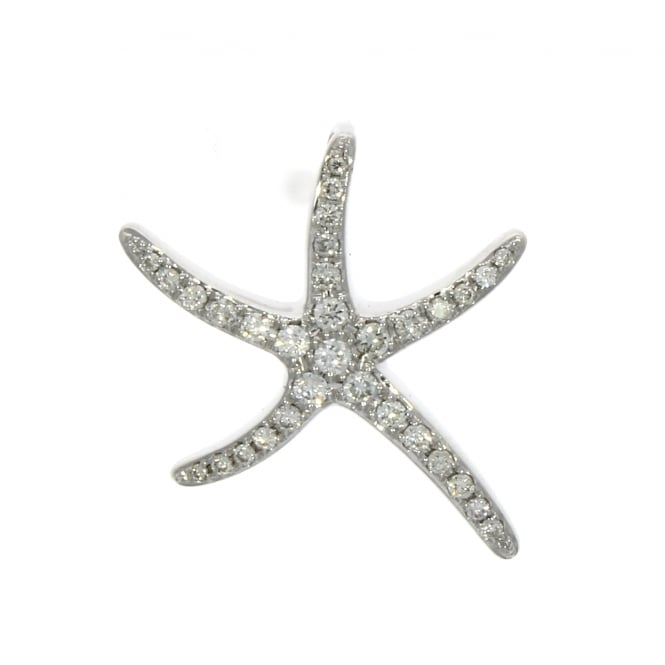 18ct White Gold Diamond Starfish Pendant 0.35ct