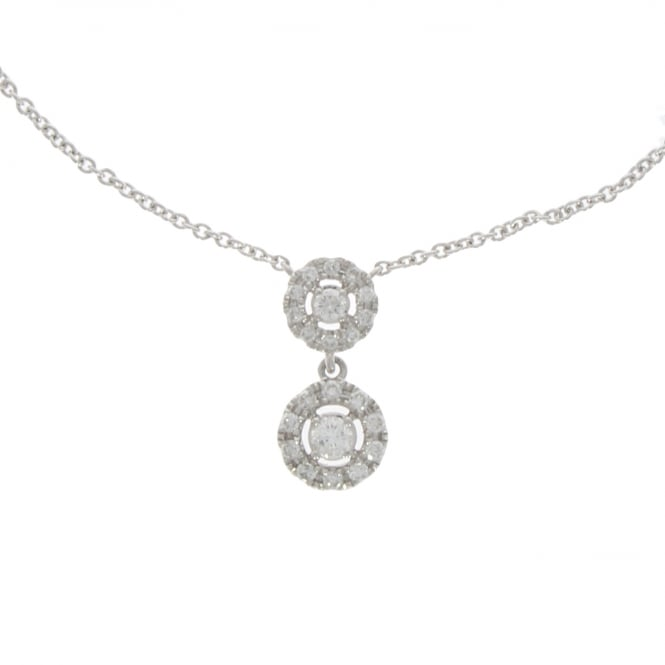 18ct White Gold Double Drop Diamond Necklace