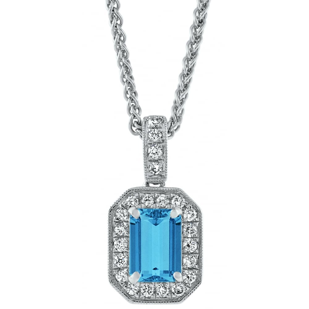 18ct white gold emerald cut aquamarine diamond pendant jewellery 18ct white gold emerald cut aquamarine amp diamond pendant aloadofball Image collections