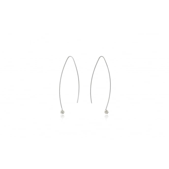 18ct White Gold 'Lustre' Diamond Drop Earrings 0.26ct
