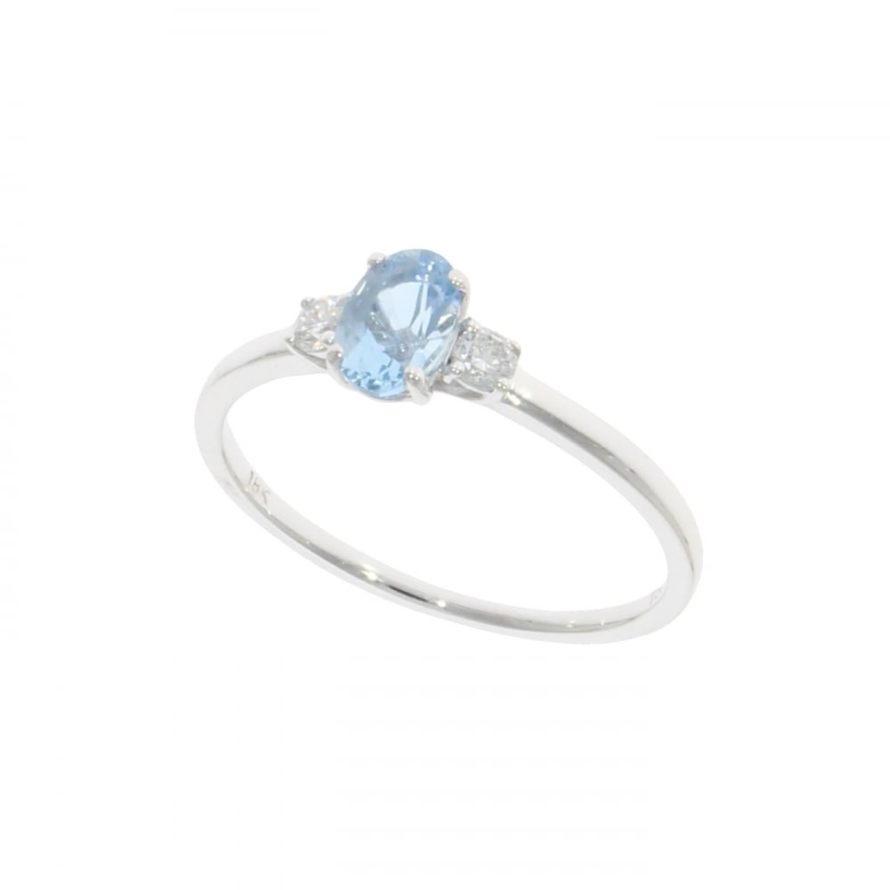 12180a685d9ab 18ct White Gold Oval Aquamarine & Diamond Three Stone Ring