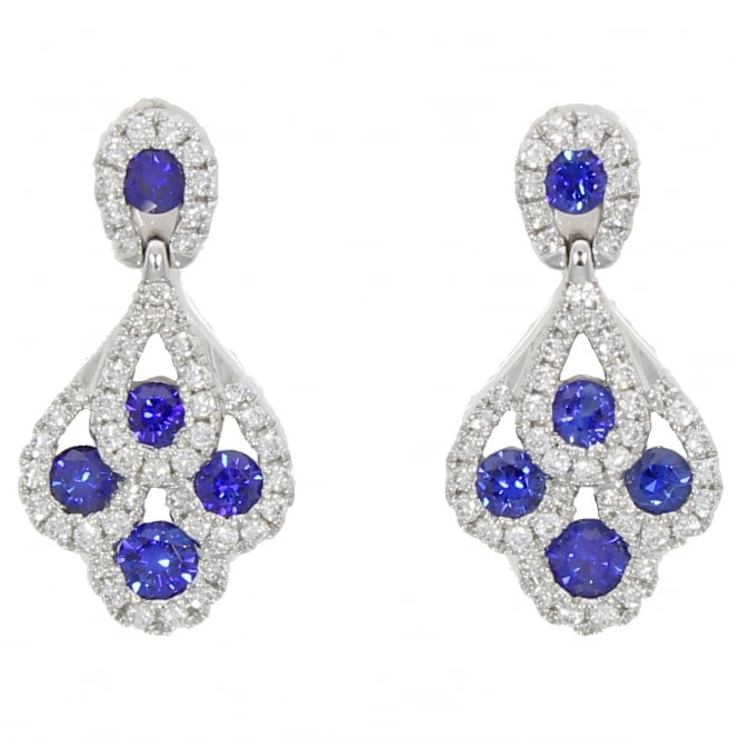 18ct White Gold Sapphire & Diamond 'Peacock'' Drop Earrings