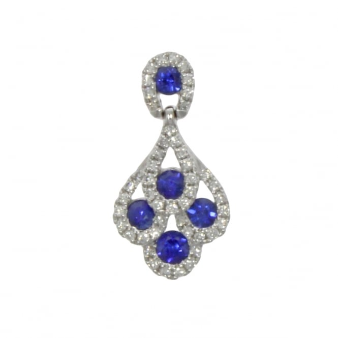 18ct White Gold Sapphire & Diamond 'Peacock' Pendant
