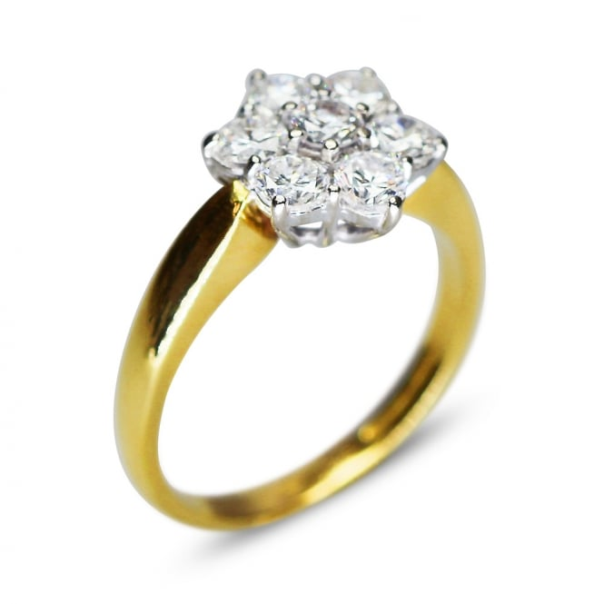 18ct Yellow Gold 1.40ct Brilliant Cut Diamond Cluster Ring