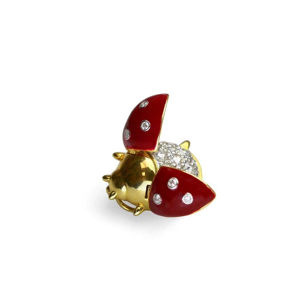 18ct yellow gold enamel diamond ladybird broochpendant 18ct yellow gold diamond amp enamel ladybird pendantbrooch mozeypictures Choice Image