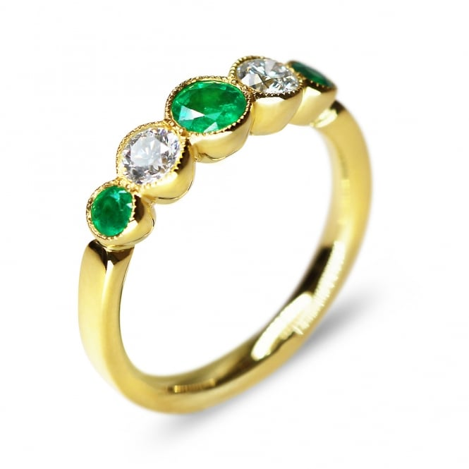 18ct Yellow Gold Emerald & Diamond Graduated 5 Stone Ring