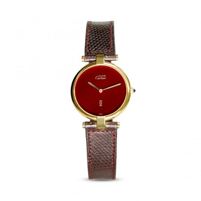 Preowned Cartier Vermeil Ladies Dress Watch Burgundy