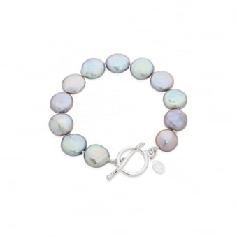 Claudia Bradby Bedruthan Silver Coin Pearl Bracelet