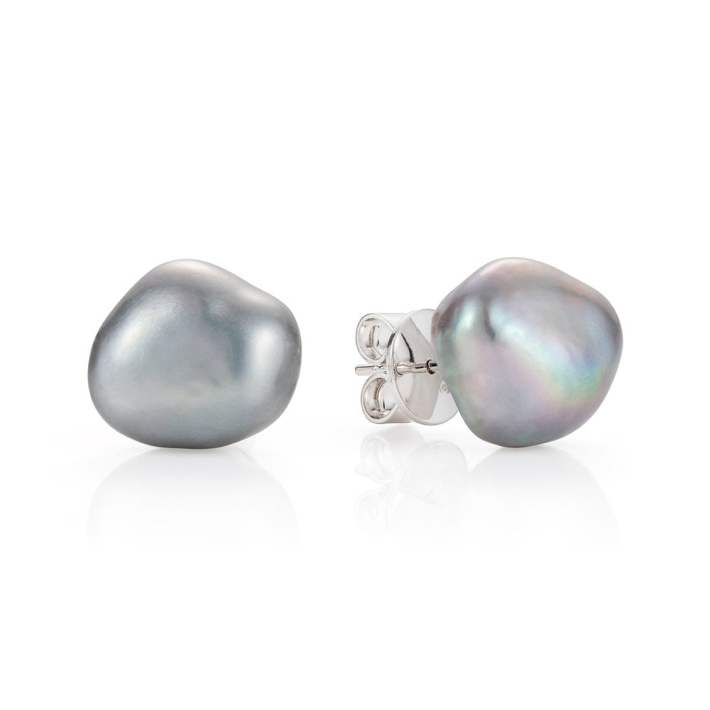 c03867d2823a8c Claudia Bradby Couture Silver Baroque Pearl Stud Earrings