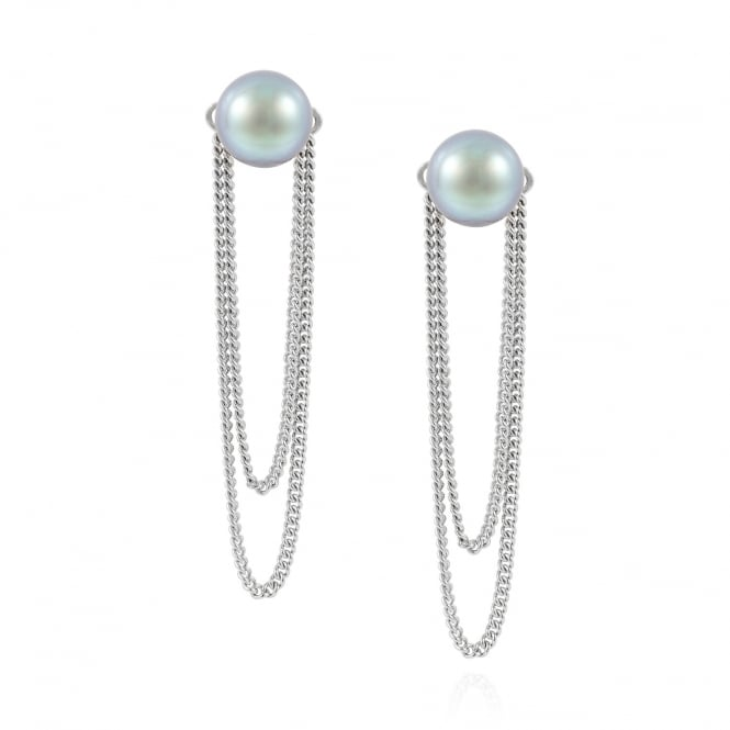 Claudia Bradby Double Chain Pearl Stud Earrings