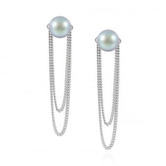 6db0036f58444d Claudia Bradby Double Chain Pearl Stud Earrings