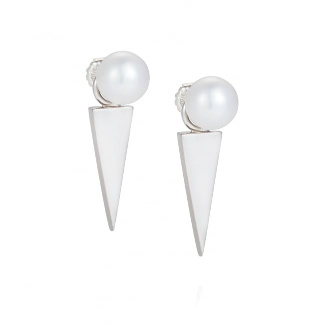 Claudia Bradby Pearl & Silver Blade Geometric Earrings