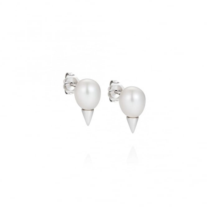 Claudia Bradby Pearl & Silver Cone Earrings