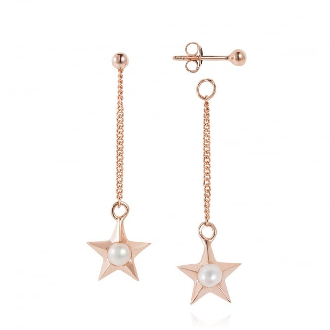 Claudia Bradby Rose Gold Star Drop Earrings