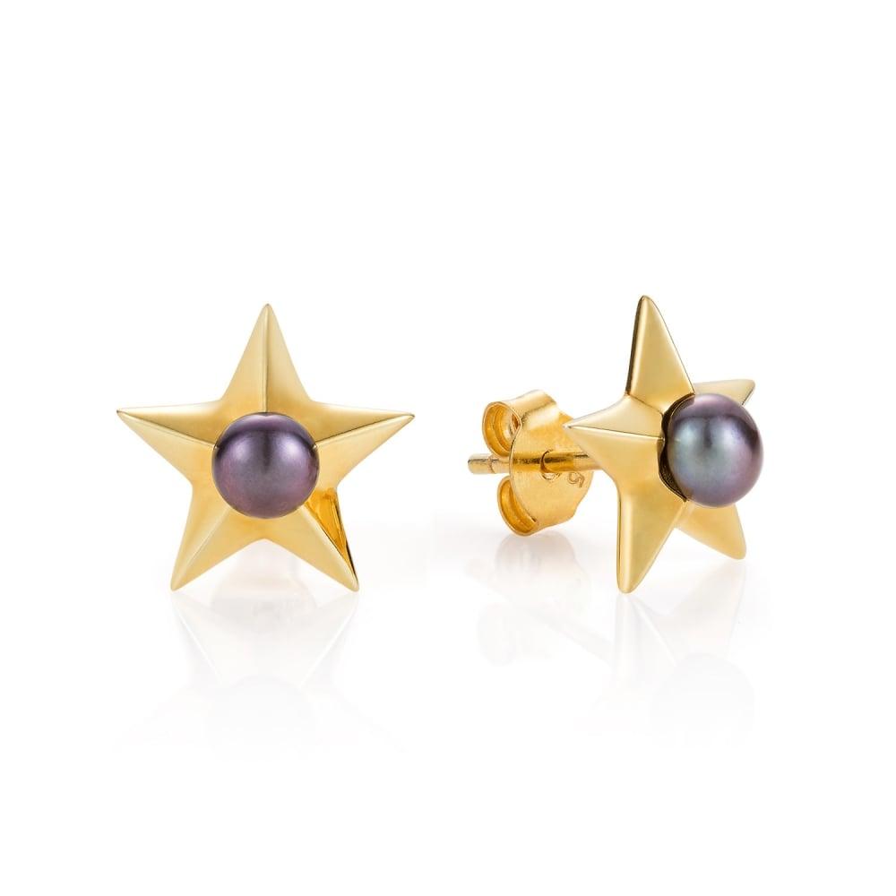 62ad9433338 Claudia Bradby Yellow Gold Star Pearl Stud Earrings