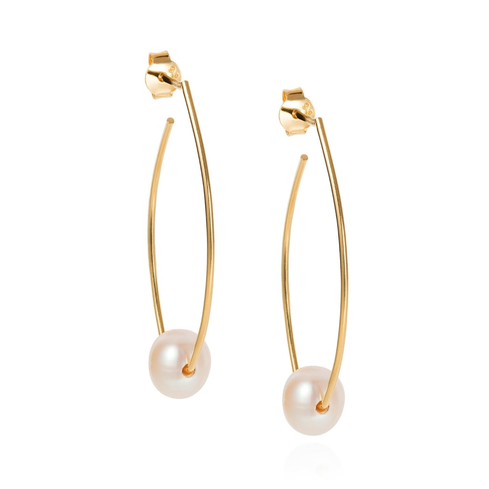 f06e674ace1206 Claudia Bradby Trapeze Gold Plated Pearl Earrings