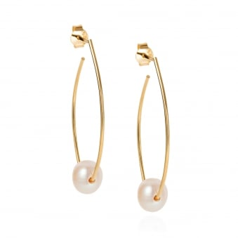 Claudia Bradby Trapeze Gold Plated Pearl Earrings