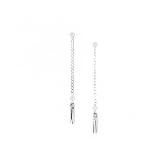 Claudia Bradby Tribal Silver and Pearl Earrings