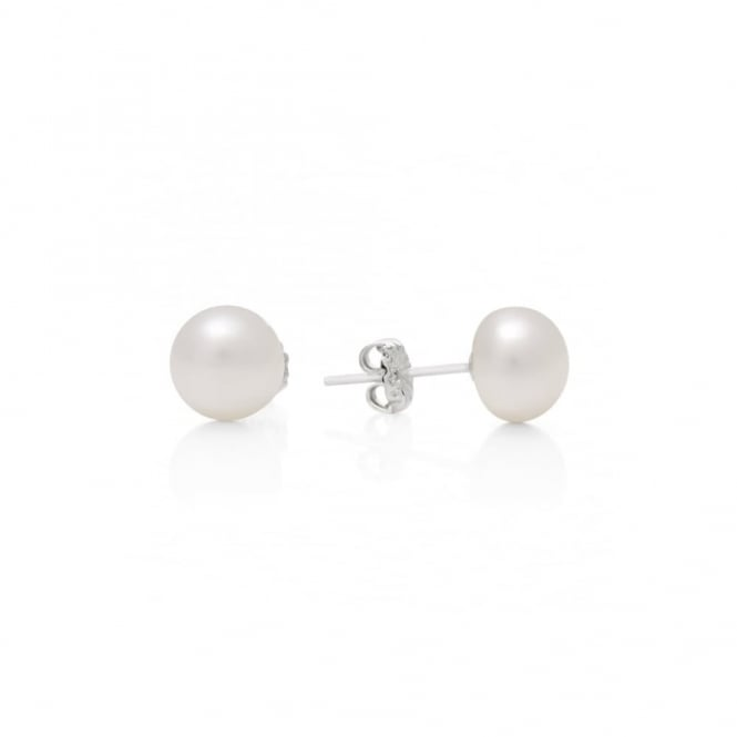 Claudia Bradby White Button Pearl Stud Earrings