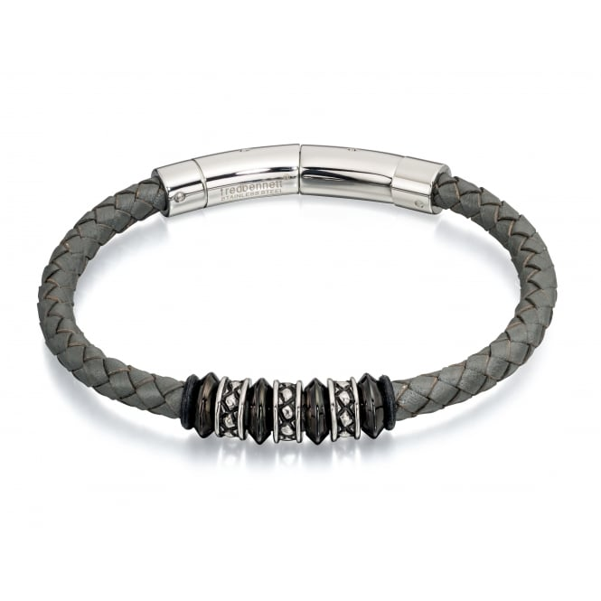 Fred Bennett Grey Leather Magnetic Bracelet with Bead