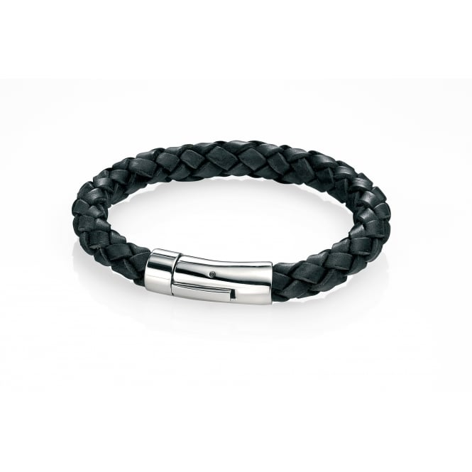 Fred Bennett Stainless Steel Black Leather Braid Bracelet