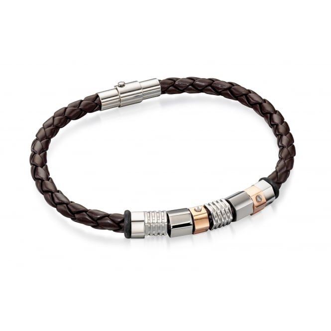 Fred Bennett Stainless Steel & Brown Leather Bracelet with Beads