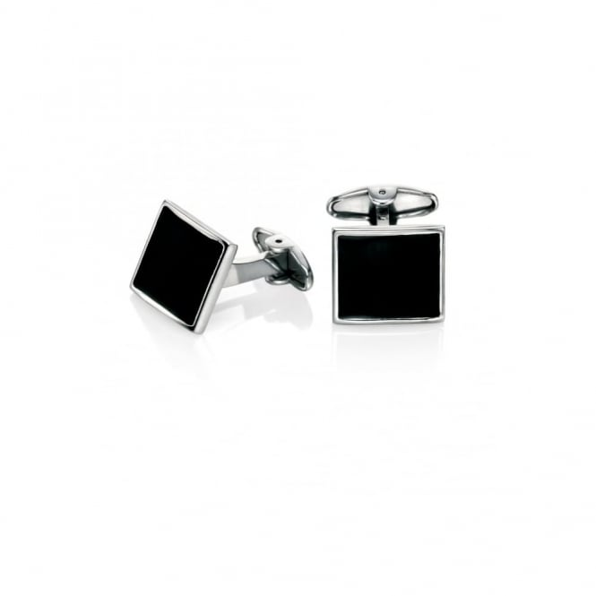 Fred Bennett Steel and Black Enamel Cufflinks