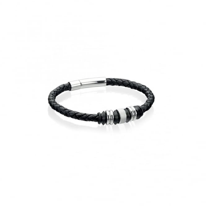 Fred Bennett Steel and Black Leather Bracelet with Beads