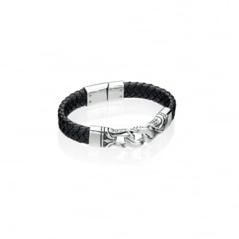 Fred Bennett Steel and Black Leather Bracelet with Black Enamel