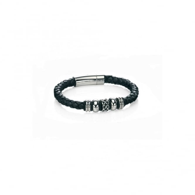 Fred Bennett Steel and Black Leather Bracelet with Celtic Bead