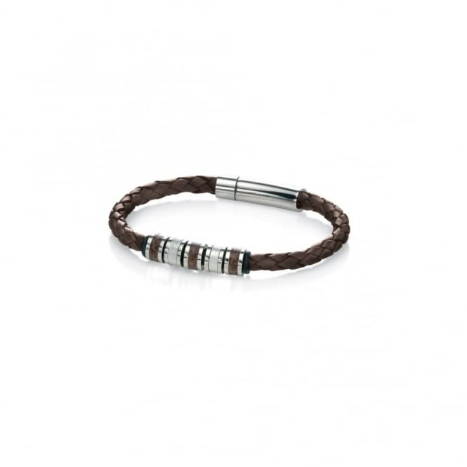 Fred Bennett Steel and Brown Leather Bracelet with Beads