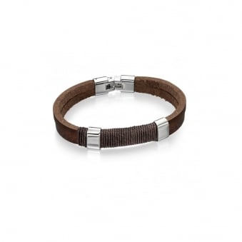 Fred Bennett Steel and Brown Leather Bracelet with Wrapped Cord