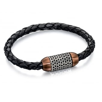 Fred Bennett Steel and Brown PVD Pattern Bracelet