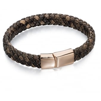 Fred Bennett Steel and Rose Gold Plated Brown Leather Bracelet