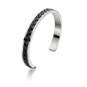 Fred Bennett Steel Bangle with Plaited Black Leather Insert