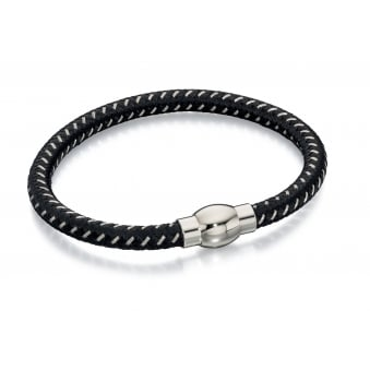 Fred Bennett Steel Black & Grey Nylon Bracelet