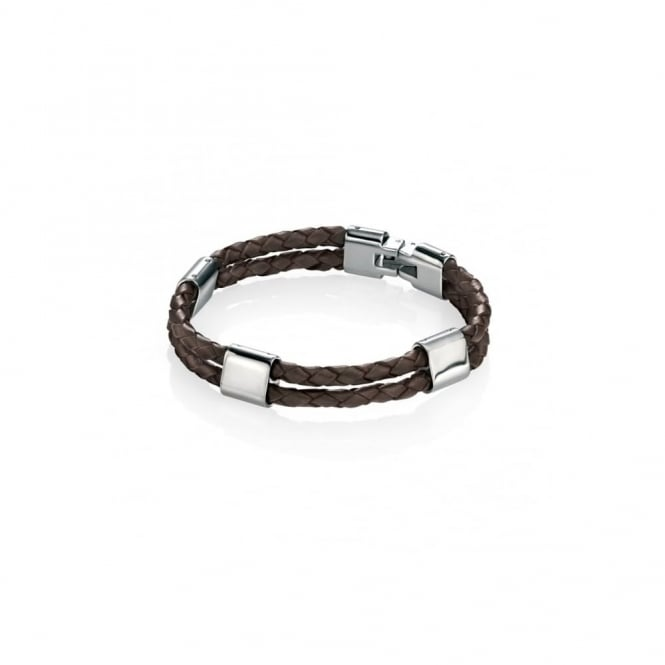 Fred Bennett Steel & Brown Leather Bracelet