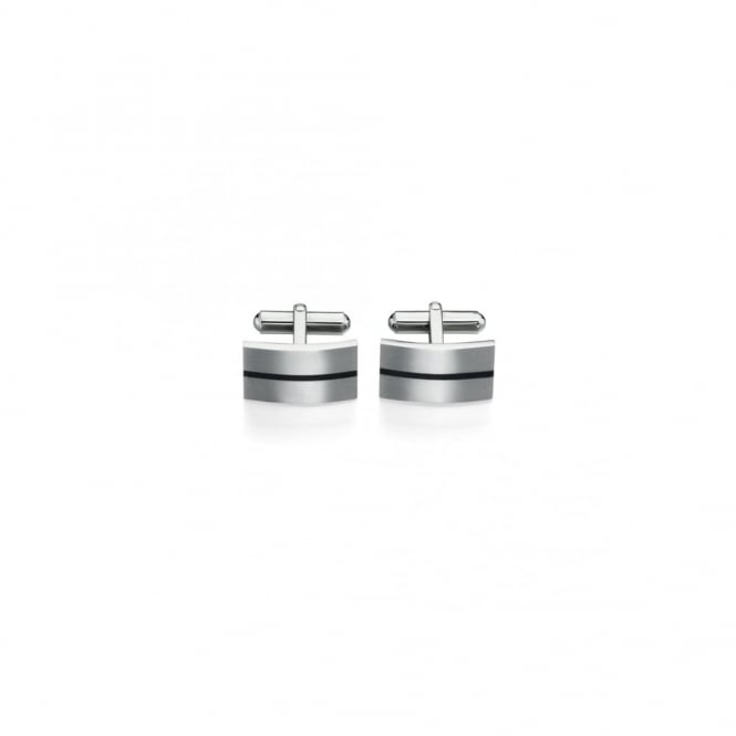 Fred Bennett Steel Cufflink with Black Enamel
