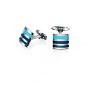 Fred Bennett Steel Cufflinks with Blue Enamel