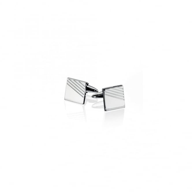 Fred Bennett Steel Cufflinks with Ribbed Detailling