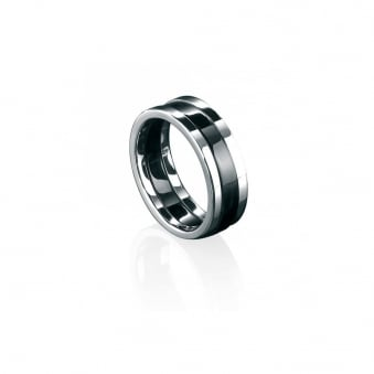 Fred Bennett Steel Ring with Black PVD Inlay