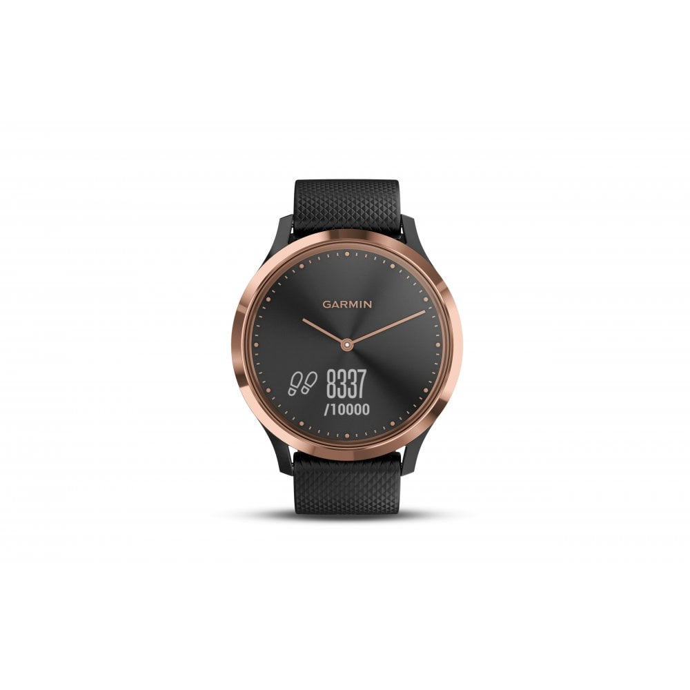 vívomove® HR Rose Gold with Black Silicone Band