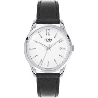 Henry London Edgware Black Leather Strap Watch